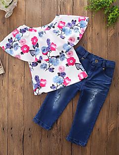 billige Tøjsæt til piger-Pige Tøjsæt Daglig I-byen-tøj Blomstret, Bomuld Polyester Forår Sommer Kortærmet Afslappet Aktiv Blå