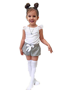 billige Tøjsæt til piger-Pige Tøjsæt Daglig Ferie Ensfarvet, Bomuld Akryl Forår Sommer Kortærmet Simple Vintage Hvid