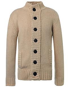 tanie Męskie swetry i swetry rozpinane-Męskie Prosty Okrągły dekolt Luźna Rozpinany Jendolity kolor Długi rękaw