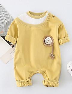 billige Babytøj-Baby Unisex En del Daglig Ensfarvet Dyretryk, Bomuld Forår Sommer Halvlange ærmer Sødt Gul Lyseblå