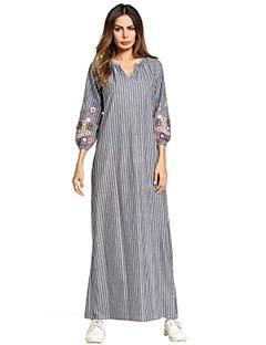 お買い得  マキシドレス-女性用 シフト ドレス - ベーシック 刺繍, ストライプ フラワー カラーブロック マキシ Vネック