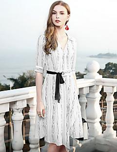 levne Dámské šaty-Dámské Štíhlý Pouzdro Šaty - Jednobarevné, Základní Košilový límec Vysoký pas