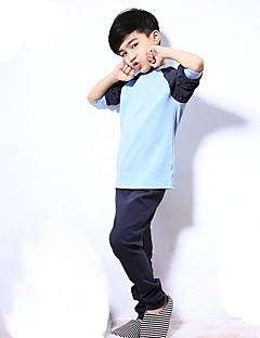tanie Odzież dla chłopców-Komplet odzieży Bawełna Dla chłopców Codzienny Jendolity kolor Wiosna Lato Długi rękaw Aktywny Niebieski