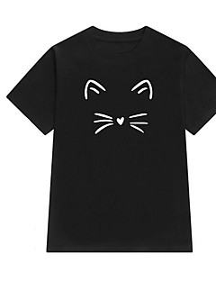 billige T-shirt-Sommerfugleærmer Dame - Geometrisk Bomuld Basale / Gade T-shirt