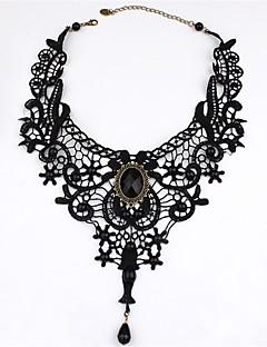 billiga Lolitamode-Lolita Accessoarer Klassisk/Traditionell Lolita Rokoko Svart lolita tillbehör Enfärgad Halsband Spets