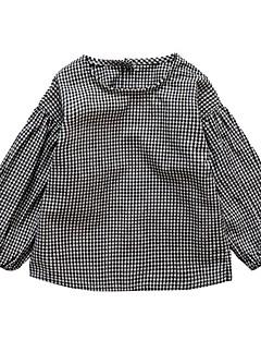 billige Pigetoppe-Pige Skjorte Daglig Ensfarvet Trykt mønster Ternet, Bomuld Polyester Forår Efterår Langærmet Simple Afslappet Sort