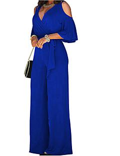 tanie Kombinezony damskie-Damskie Spodnie szerokie nogawki Wycięcie Impreza Z odsłoniętymi ramionami Czarny Wino Królewski błękit Spodnie szerokie nogawki Kombinezon, Solidne kolory Z wycięciem L XL XXL Bawełna Długi rękaw