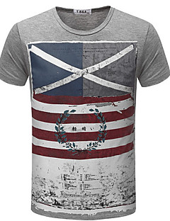 billige Herre Mode Beklædning-Rund hals Herre - Ensfarvet Farveblok Gade T-shirt