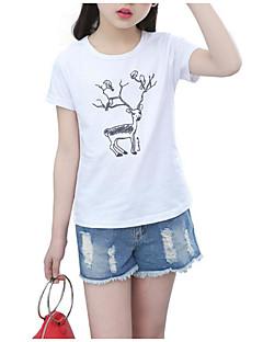 billige Pigetoppe-Pige Daglig Sport Ensfarvet Trykt mønster T-shirt, Bomuld Polyester Sommer Kortærmet Basale Hvid Lyserød