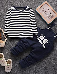 billige Tøjsæt til drenge-Unisex Tøjsæt Daglig I-byen-tøj Ensfarvet Stribet Jacquard Vævning, Bomuld Forår Efterår Langærmet Sødt Rød Navyblå