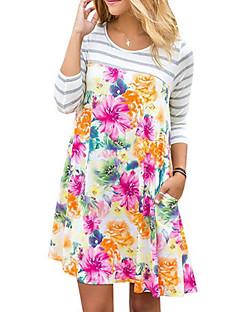 baratos Vestidos de Mulher-Mulheres Solto Vestido - Básico, Floral