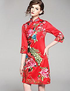 Χαμηλού Κόστους Kelifeiya-Γυναικεία Εφαρμοστό Φόρεμα - Φλοράλ, Στάμπα Όρθιος Γιακάς