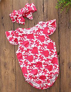 billige Babytøj-Baby Pige En del Daglig I-byen-tøj Blomstret Trykt mønster, Bomuld Polyester Sommer Uden ærmer Vintage Afslappet Rød