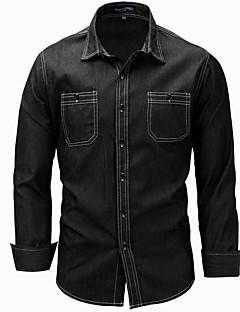 ราคาถูก เสื้อเชิ้ตผู้ชาย-สำหรับผู้ชาย เชิร์ต Street Chic ลายพิมพ์ สีพื้น / แขนยาว