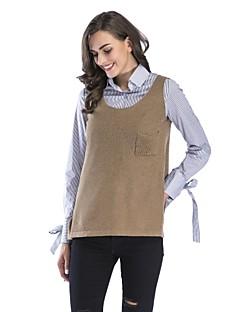 baratos Suéteres de Mulher-Mulheres Feriado Sem Manga Algodão Pulôver - Côr Sólida Algodão