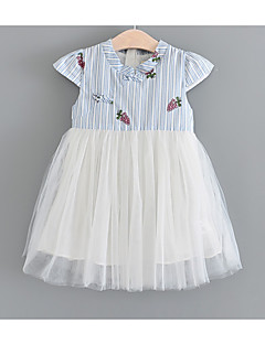 tanie Odzież dla dziewczynek-Sukienka Jedwab Dziewczyny Codzienny Jendolity kolor Lato Krótki rękaw Urocza Blushing Pink Light Blue
