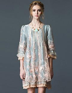 Χαμηλού Κόστους PROVERB-Γυναικεία Βίντατζ Λεπτό Φαρδιά Φόρεμα - Μονόχρωμο, Πλισέ Ως το Γόνατο