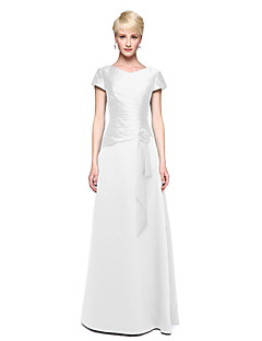 billige Grønn glamour-A-linje V-hals Gulvlang Sateng Brudepikekjole med Plissert Blomst av LAN TING BRIDE®
