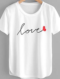 billige T-shirt-Dame - Bogstaver Bomuld, Trykt mønster Basale / Gade T-shirt / Forår