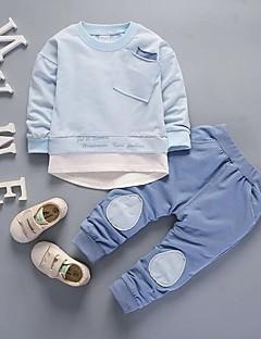 billige Tøjsæt til drenge-Drenge Tøjsæt Daglig Skole Ensfarvet Jacquard Vævning, Bomuld Forår Efterår Langærmet Sødt Blå Lyserød