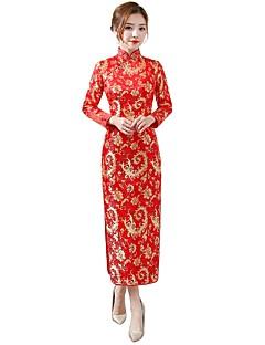 baratos Costumes étnicas e Cultural-Fantasias Vestidos Festa a Fantasia Vestido de lápis Vestido de uma linha Mulheres Uniformes e Vestidos Chineses (QiPao) Estilo Chinês Festival / Celebração Algodão Roupa Fúcsia / Vermelho Floral