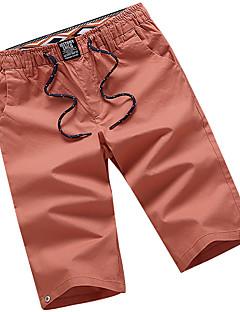 billige Herrebukser og -shorts-Herre Enkel Gatemote Store størrelser Bomull Shorts Chinos Bukser Ensfarget Lav Midje