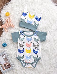 billige Babytøj-Baby Unisex En del Daglig Dyretryk, Bomuld Spandex Forår Sommer Kort Ærme Simple Aktiv Hvid