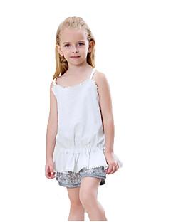 billige Tøjsæt til piger-Pige Daglig Ensfarvet Tøjsæt, Bomuld Polyester Sommer Uden ærmer Sødt Basale Hvid