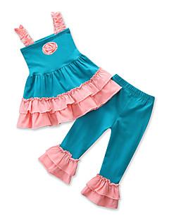 billige Tøjsæt til piger-Pige Tøjsæt Daglig I-byen-tøj Patchwork Jacquard Vævning, Bomuld Polyester Sommer Uden ærmer Afslappet Aktiv Blå