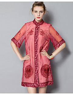 Χαμηλού Κόστους PROVERB-Γυναικεία Κινεζικό στυλ Θήκη Φόρεμα - Φλοράλ, Βασικό Στρογγυλή Ψηλή Λαιμόκοψη