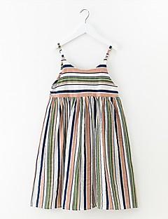 billige Pigekjoler-Pigens Kjole Stribet Sommer Simple Regnbue