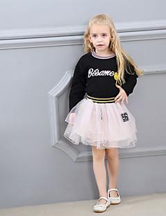 billige Tøjsæt til piger-Pige Daglig Sport Trykt mønster Tøjsæt, Bomuld Polyester Forår Sommer Langærmet Sødt Aktiv Sort Lyserød