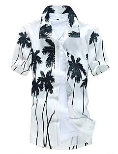 cheap Men's Shirts-Men's Beach Plus Size Slim Shirt - Geometric Print Spread Collar / Short Sleeve