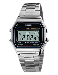 billige Rustfrit stål-SKMEI Herre Digital Digital Watch Sportsur Alarm Kalender Kronograf Vandafvisende LCD Rustfrit stål Bånd Elegant Sej Sølv