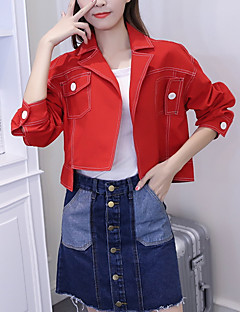 お買い得  レディースブレザー&ジャケット-女性用 デニムジャケット - ヴィンテージ シャツカラー ソリッド