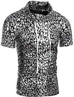 お買い得  メンズTシャツ&タンクトップ-男性用 プリント Tシャツ タートルネック スリム レオパード