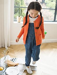 billige Sweaters og cardigans til piger-Pige Trøje og cardigan Daglig Ensfarvet, Akryl Polyester Forår Langærmet Simple Blå Hvid Orange