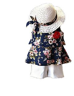 billige Tøjsæt til piger-Pige Tøjsæt Daglig Ferie Ensfarvet Blomstret, Bomuld Polyester Sommer Uden ærmer Sødt Aktiv Brun Navyblå