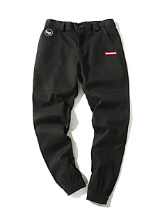 billige Herrebukser og -shorts-menns vanlige midterstige mikro-elastiske harembukser, enkel, solid bomullslinne bambusfiber akrylfjær