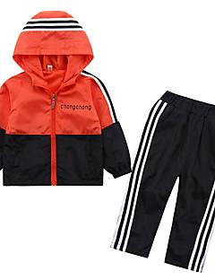 billige Tøjsæt til drenge-Drenge Tøjsæt Farveblok, Polyester Forår Langærmet Afslappet Hvid Orange
