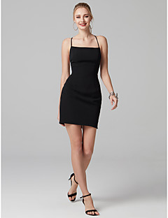 cheap Little Black Dresses-Sheath / Column Spaghetti Straps Short / Mini Stretch Satin Cocktail Party Dress with Bandage by TS Couture®