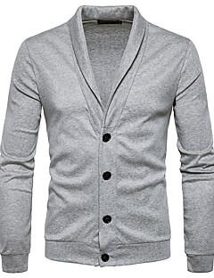 tanie Męskie swetry i swetry rozpinane-Męskie Kołnierzyk koszuli Długi Rozpinany Jednolity kolor Długi rękaw