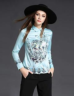 お買い得  レディーストップス-女性用 プリント シャツ シャツカラー フラワー