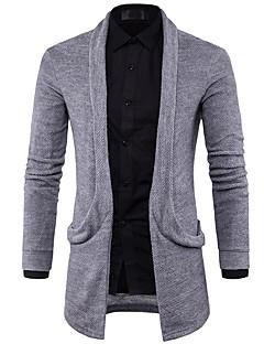 tanie Męskie swetry i swetry rozpinane-Męskie Prosty Kołnierzyk koszuli Długi Rozpinany - Nadruk, Solid Color Długi rękaw