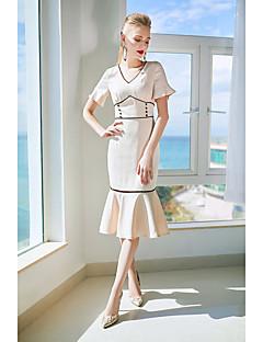 tanie AW 18 Trends-Damskie Wyjściowe Wyrafinowany styl Syrena Sukienka - Jednolity kolor, Wycięcia W serek Wysoka Talia Do kolan / Wiosna / Lato / Falbany / Koronkowe