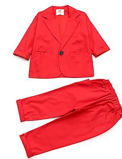 billige Tøjsæt til drenge-Drenge Tøjsæt Daglig Ensfarvet, Polyester Forår Langærmet Simple Sort Rød