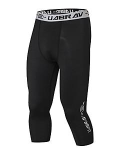 billiga Träning-, jogging- och yogakläder-Herr 3/4-capribyxor för jogging - Svart sporter Enfärgad 3/4 Strumpbyxor / Leggings Motion & Fitness Sportkläder Mateial som andas Elastisk