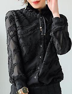 billige Skjorte-Rullekrave Tynd Dame - Ensfarvet I-byen-tøj Skjorte