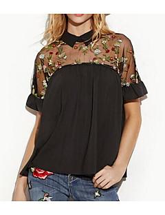 billige Overdele til damer-Dame Net Broderi Patchwork Sødt Aktiv Bluse