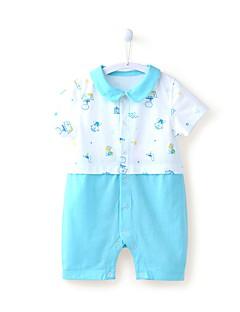 billige Babytøj-Baby Unisex En del Daglig Strand Trykt mønster, Bomuld Forår Sommer Kort Ærme Afslappet Aktiv Blå Lyserød